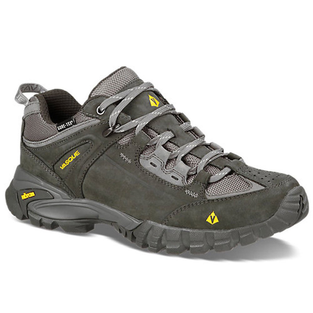 Men's waterproof Vasque Mantra 2.0 GTX Beludga Old Gold low-rise hiking shoes.
