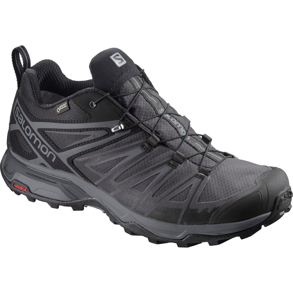 Men's waterproof black Salomon low-rise hiking shoes.