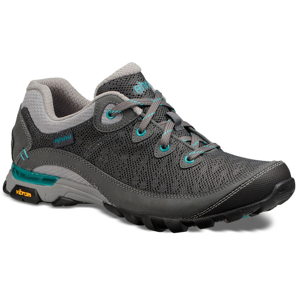 Ventilated hiking shoes, the Ahnu sugarpine II air mesh hiking shoes in dark shadow color.