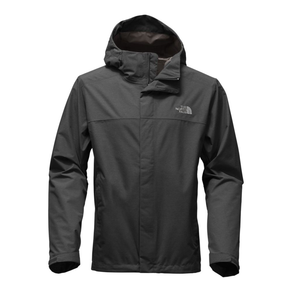 The North Face men's rain jackets include the Men's Venture 2 Jacket. This one uses HyVent and is Dark Grey.