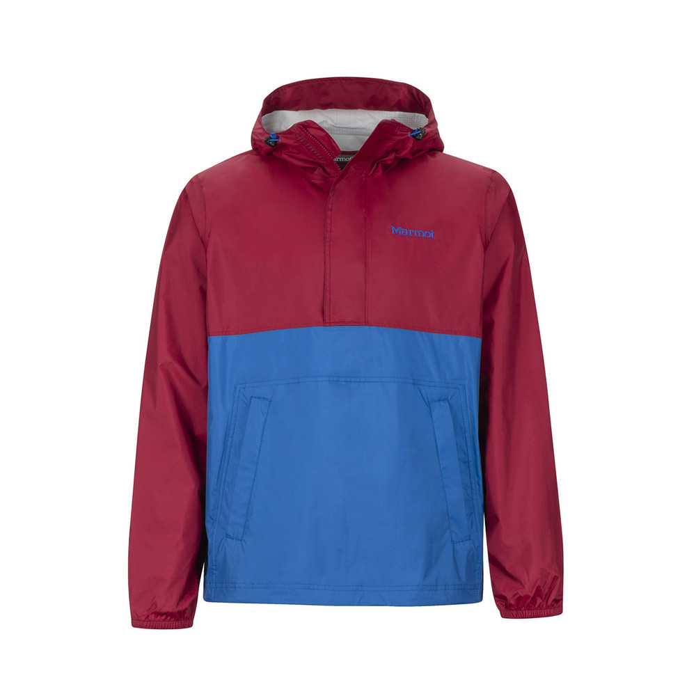 The men's Precip Anorak is a Marmot rain jacket pullover. This one is the Marmot Precip Anorak in red and blue.
