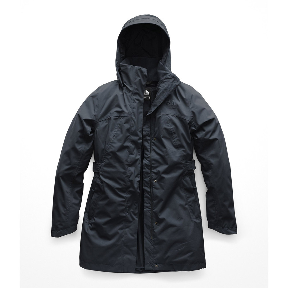 The North Face women's rain jackets TNF Black. The Laney Trench rain jacket uses HyVent as a waterproof breathable membrane.