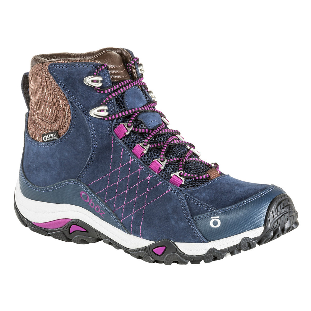 Stylish hiking boots, the Oboz Women's Sapphire Mid Waterproof Hiking Boot in huckleberry.